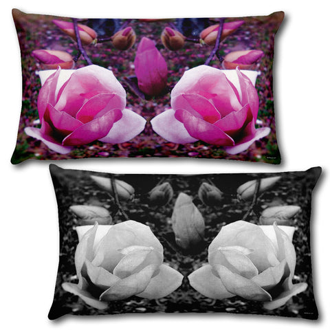 "BLOOM MAGENTA Reversible Decorative Throw Pillow 20""x12"""