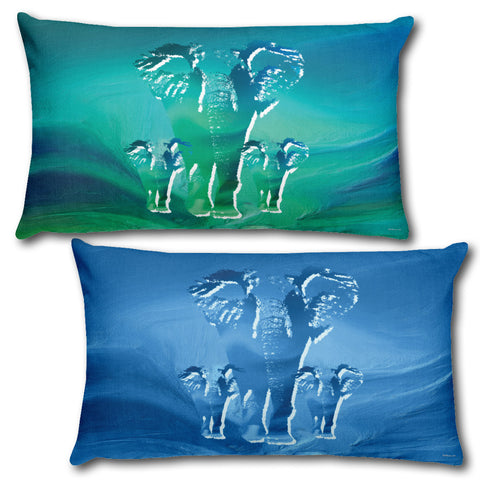 "ELEPHANTES Reversible Decorative Throw Pillow 20""x12"""