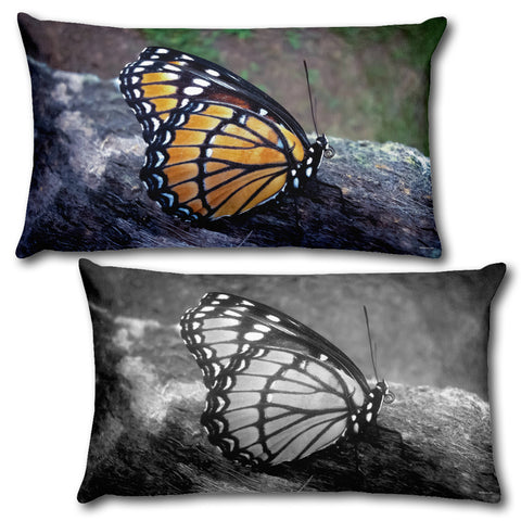 "BUTTERFLY - Reversible Decorative Throw Pillow 20""x12"""
