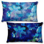 "ABSTRACT BLUE 1 - Reversible Decorative Throw Pillow 20""x12"""
