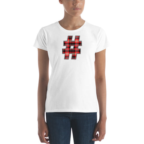 RED PLAID #HASHTAG Women's Classic Fit Short Sleeve T-Shirt - Size S-XL - 8 Colors