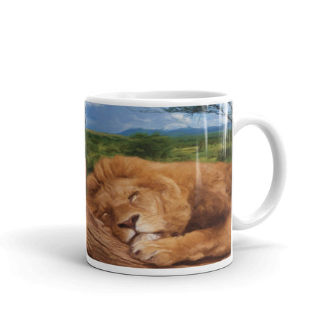 SLEEPING LION Double-Sided Coffee Mug Tea Cup 11oz & 15oz