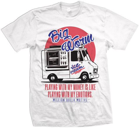 BIG WORM ICE CREAM - SOLAR RED/ULTRAMARINE ON WHITE T-SHIRT - Holford soCiety Jordan T-shirt Tees