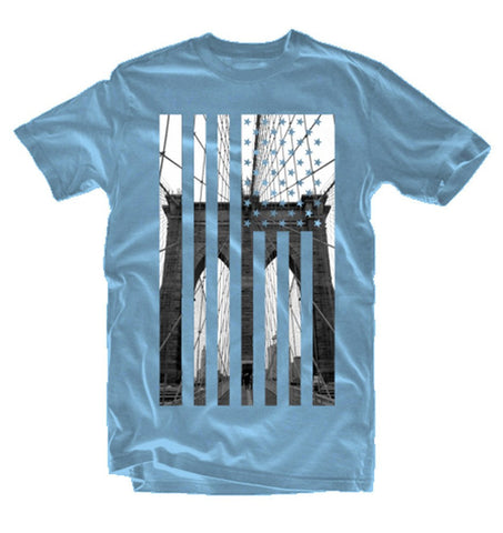 Brooklyn Bridge Flag Tshirt (sky) - Holford soCiety Jordan T-shirt Tees