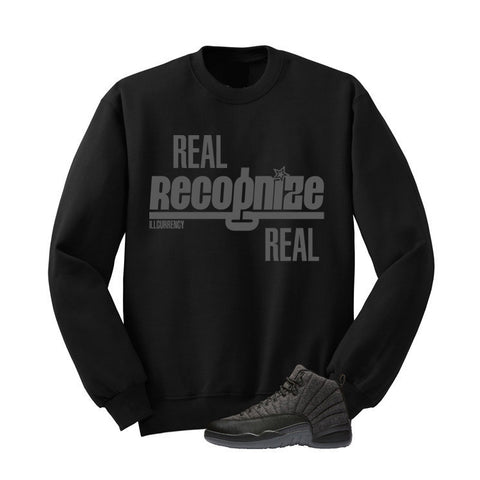 JORDAN 12 WOOL BLACK T SHIRT (REAL RECOGNIZE REAL) crewneck - Holford soCiety Jordan T-shirt Tees