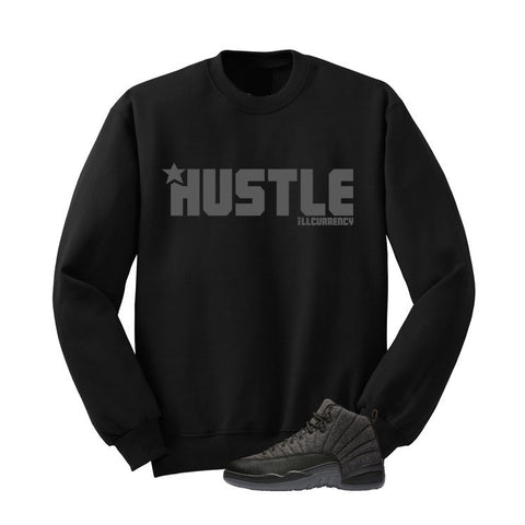 JORDAN 12 WOOL BLACK T SHIRT (HUSTLE) crewneck - Holford soCiety Jordan T-shirt Tees