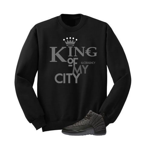 JORDAN 12 WOOL BLACK T SHIRT (KING OF MY CITY) crewneck - Holford soCiety Jordan T-shirt Tees