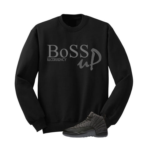 JORDAN 12 WOOL BLACK T SHIRT (BOSS UP) crewneck - Holford soCiety Jordan T-shirt Tees