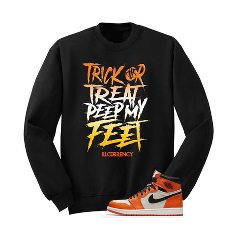 JORDAN 1 REVERSED SHATTERED BACKBOARD BLACK T SHIRT (TRICK OR TREAT) crewneck - Holford soCiety Jordan T-shirt Tees