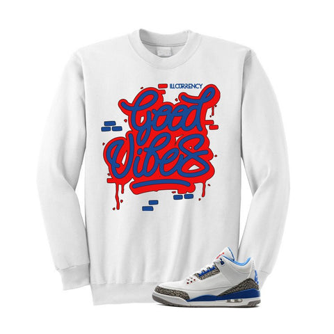 JORDAN 3 OG TRUE BLUE WHITE T SHIRT (GOOD VIBES) crerwneck - Holford soCiety Jordan T-shirt Tees