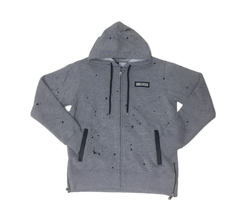 Cut & Sewn Grey SNKR HEAD Paint Spatter Hoodie (zipper)