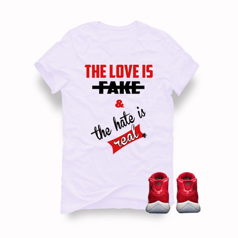 "Air Jordan 11 Gym Red ""Win Like '96"" White T (Love is fake) - Holford soCiety Jordan T-shirt Tees"