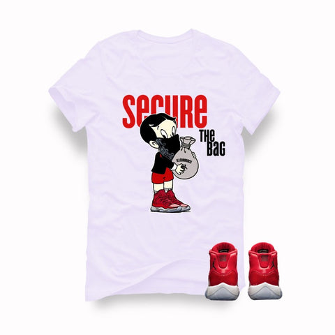 "Air Jordan 11 Gym Red ""Win Like '96"" White T (Secure the bag) - Holford soCiety Jordan T-shirt Tees"