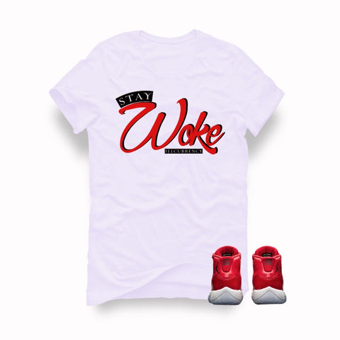 "Air Jordan 11 Gym Red ""Win Like '96"" White T (Stay Woke) - Holford soCiety Jordan T-shirt Tees"