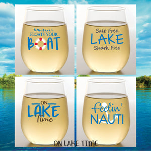 Preorder ON LAKE TIME Shatterproof Wine Glasses