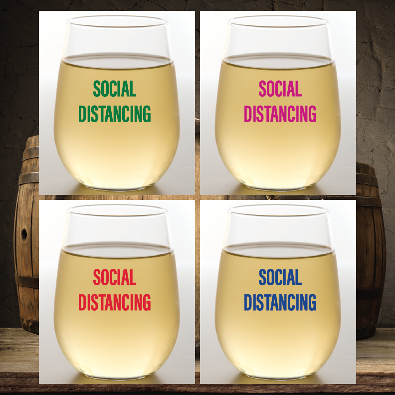 SOCIAL DISTANCING Shatterproof Wine Glasses