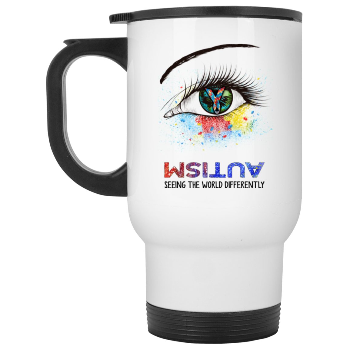 Autism- Seeing World Differently White Travel Mug