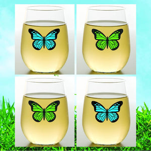 BUTTERFLIES Shatterproof Wine Glasses