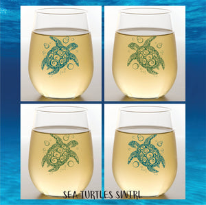 SEA TURTLES SWIRL Shatterproof Wine Glasses