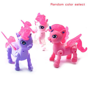 Flashing Music Unicorn Pet Toys LED Light Funny Walking Robot Unicorns Toy With Rope Doll For Kids Gifts Girls