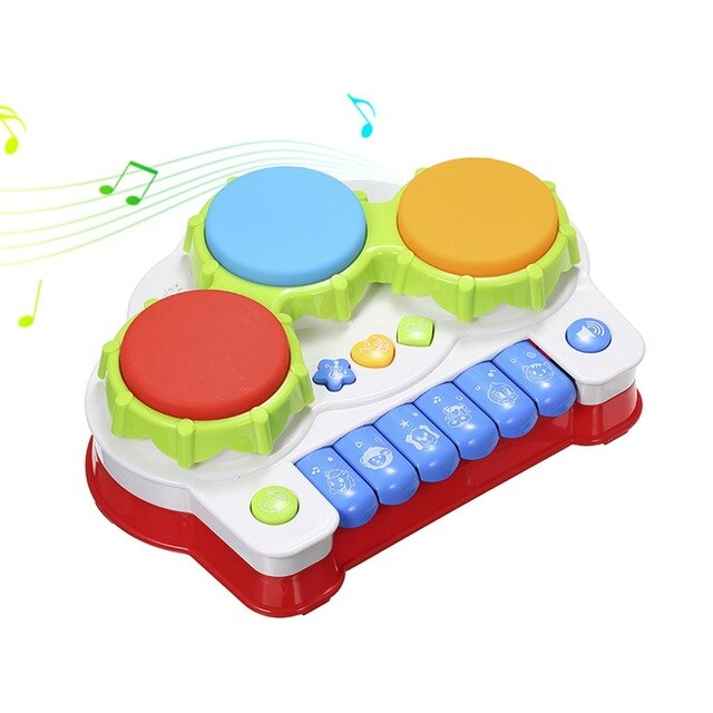 Electric Piano hand drum two in one music luminous children pat drum Baby Drums Musical Toys Gifts Toddler Keyboard Birthday
