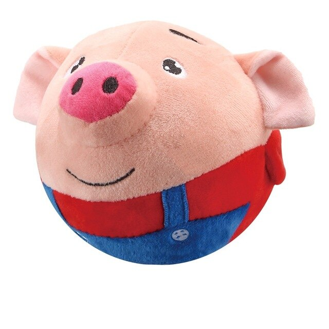 Plush Toy Pig Stuffed Animals Doll Music Piggy Educational Electric Bouncing Music Ball Toy Interactive Toys for Children Baby