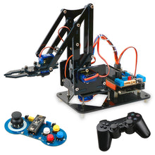 Load image into Gallery viewer, 4DOF DIY Robot Arm Kit Educational Robotics Claw Set Mechanical Arm for Arduino R3,PS2/2.4G Wireless Control,Scracth Programming