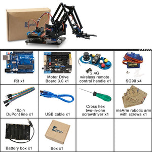 4DOF DIY Robot Arm Kit Educational Robotics Claw Set Mechanical Arm for Arduino R3,PS2/2.4G Wireless Control,Scracth Programming