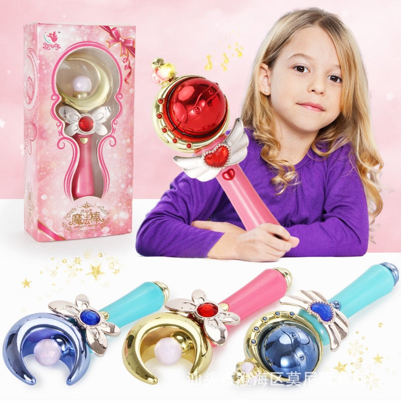 Magic Stick Wand Bar Girl Butterfly Moon Sun Light Up Luminous Shiny Bling LED Birthday Gifts Interact Play Game Toys for Girls
