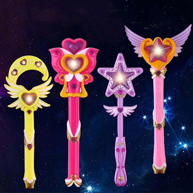 Electric Musical Magic Wand Toys For Children Plastic Sound Music Light Up Funny Become The Princess Toy For Girls Gift