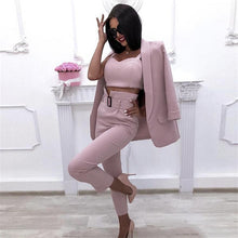 Load image into Gallery viewer, MVGIRLRU Office Ladies Solid 3 Pieces Set Buttonless Slim Blazer CamisTops and Pant Women Pants Suits