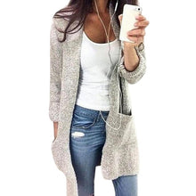 Load image into Gallery viewer, Women Long Cardigan Solid Hooded Sweater 2019 Autumn Warm Thick Long Coat Winter Knitting Coat Plus Size 5XL Casual Knittwear