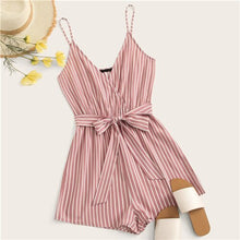 Load image into Gallery viewer, SHEIN Striped Wrap Cami Rompers Womens Jumpsuit With Belt Women Vacation Beach Sleeveless Sexy Jumpsuit 2019 Summer Playsuit