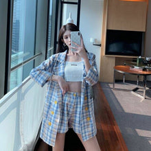 Load image into Gallery viewer, Thin selection] Fashion suit two-piece suit female 2019 summer new Korean version of the plaid thin coat + pants suit