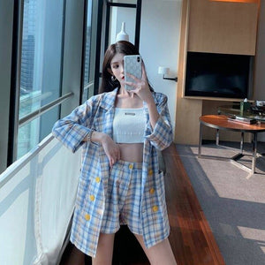 Thin selection] Fashion suit two-piece suit female 2019 summer new Korean version of the plaid thin coat + pants suit