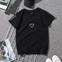 Load image into Gallery viewer, 2019 Summer Couples Lovers T-Shirt for Women Casual White Tops Tshirt Women T Shirt Love Heart Embroidery Print T-Shirt Female