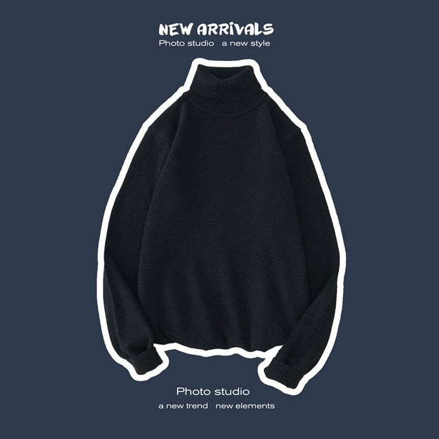 Meihuida Winter Male Men Casual Long Sleeve Candy Colors High Collars Roll Turtle Neck Soft Knitted Solid Sweater Pullover Tops
