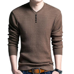 Chic Autumn Winter Sweaters Men Solid Color V Neck Long Sleeve 2019 Pullover Knitted Pull Sweater Mens Sweaters  Male Knitwear