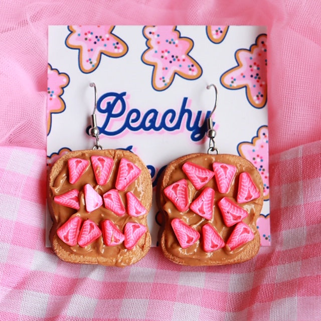 PB & Strawberry Toast Earrings