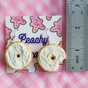 Bagel with cream cheese Earrings
