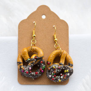 Chocolate Dipped Pretzel Earrings