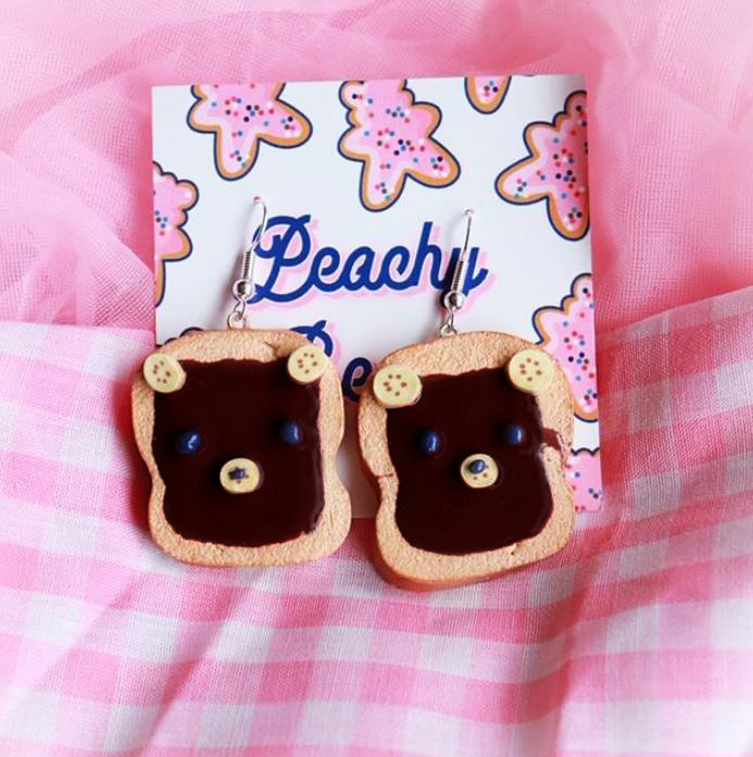 Chocolate Banana Bear Toast Earrings