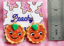Load image into Gallery viewer, Orange Cat Tart Earrings - One off design