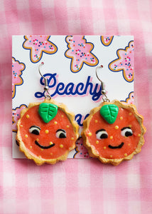 Orange Cat Tart Earrings - One off design