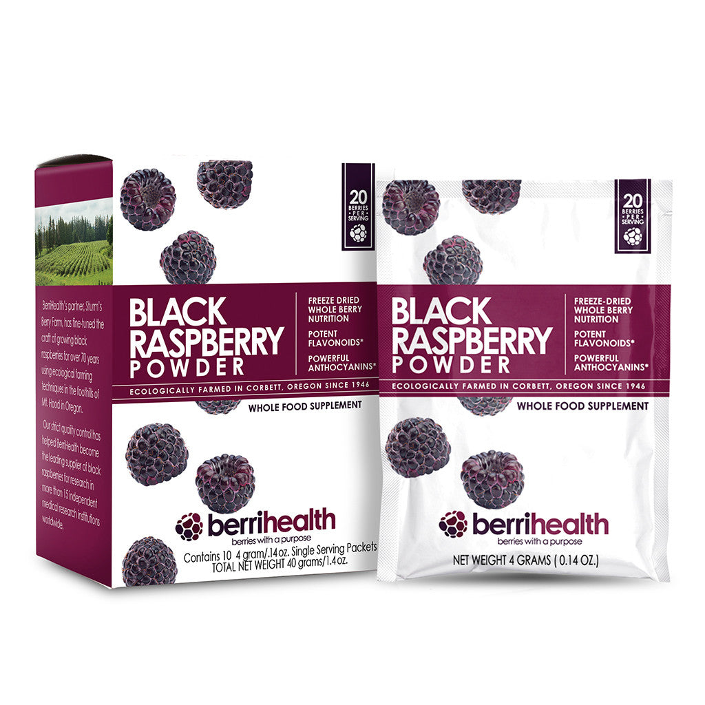Freeze-Dried Black Raspberry Powder - 4 Gram Convenience Packs - Box of 10 - Berrihealth.com - 1