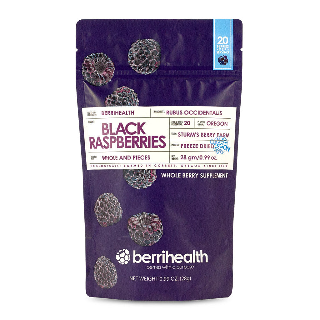 Whole/Pieces - Freeze-Dried Black Raspberries - 28 Gram Pouches