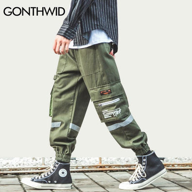 GONTHWID Side Zipper Pockets Cargo Harem Joggers Pants Streetwear Men Harajuku Hip Hop Hipster Casual Baggy Sweatpants Trousers