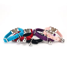 Load image into Gallery viewer, Heart Charm Cat Collar with Safety Belt and Bell