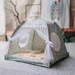Sweet Cat Tent House With Curtain - KittenLands