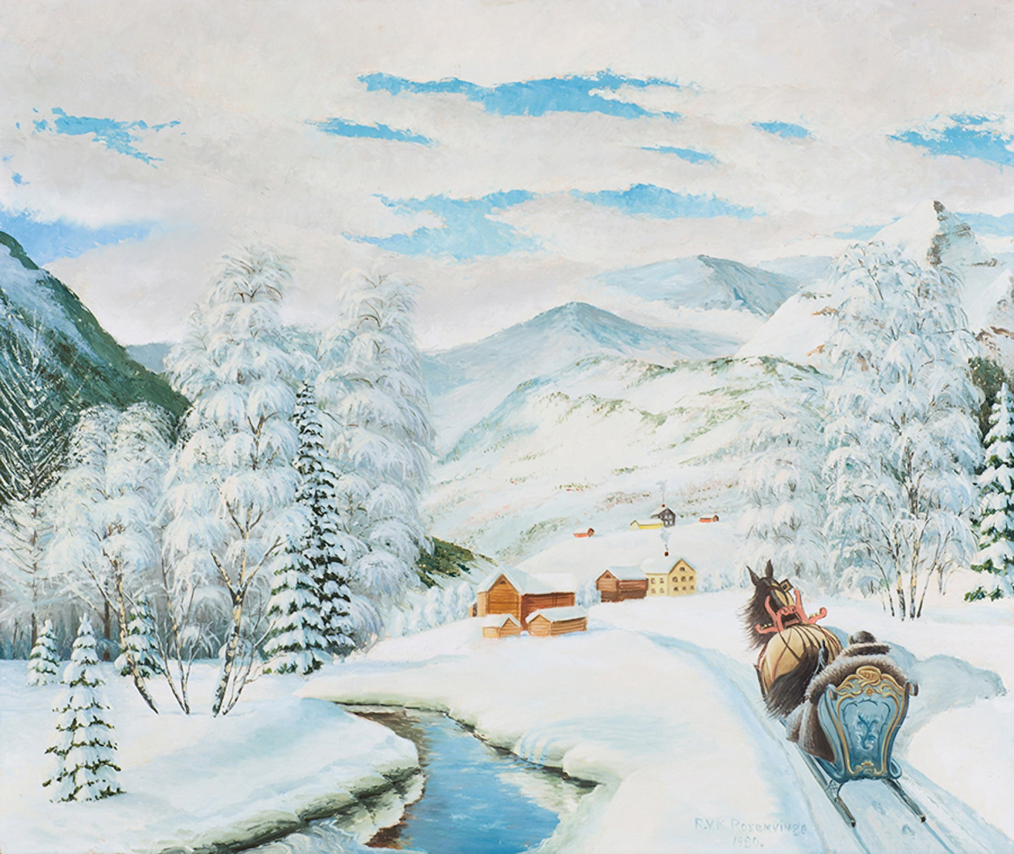 Giclée Print from Vesterheim's Collections - Winter Scene by Rosenvinge